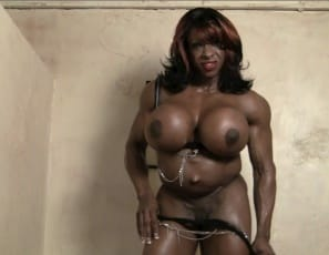 Female bodybuilder Yvette Bova is posing nude, showing off her big, vascular biceps, her powerful pecs and glutes, her ripped abs and her massive legs and calves. You'll especially enjoy watching her spread her glutes to play with her juicy pussy, then stroke her big pink clit while you watch in extreme close-up and she tells you to suck it. Think you deserve it?