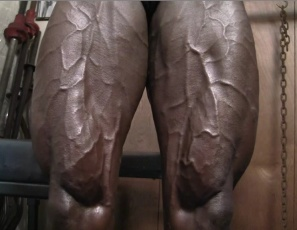When ripped female bodybuilder Roxanne Edwards poses nude in the gym, one look at the gleaming, ebony muscles of her pecs, biceps, abs, legs and calves as she works out shows you how strong she is. She's amazingly vascular too – you might say she's vein.