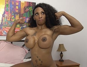 Female bodybuilder Coco Crush likes to stretch the ebony muscles of her biceps, legs, glutes, ripped abs, and pecs, do some posing and work on her muscle control before she takes off her panties and goes to bed. This time, she invited you.