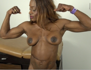 Female bodybuilder Ashley is ready for your virtual session, playing nurse in a uniform and high heels to make sure she gets your vital signs, then getting naked and posing to show you her muscular ebony pecs and abs and vascular biceps. You're probably feeling better already.