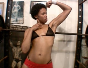 If you've ever wondered what it's like to have a pretty ebony pussy at eye level on the gym, flexible Melanie is about to show you, posing, masturbating and moaning with her long legs spread wide, playing with her clit, pussy and ass in close-up, and using her strong biceps to pull herself up and down.