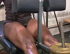 Looking this good never comes easy, Female bodybuilder Mistress Treasure says, as she works her 26-inch ebony quads and does heavy rows and lifts in the SheMuscle gym. Bet my pump's bigger than yours, she taunts.