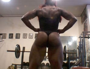 Gym domme Mistress Treasure is allowing Wimpy William a little muscle worship time, so he caresses her ebony legs, glutes and biceps until she ends the session, taunting him and calling him names. Once he leaves, she has time for her own bodybuilding as she wonders who her next wimp will be. Any takers?